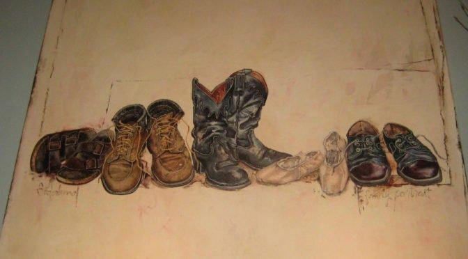 painting of various pairs of footwear in a row