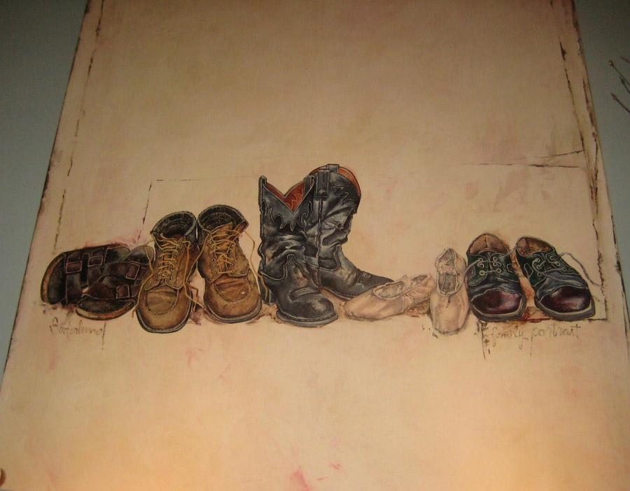 painting of various pairs of footwear in a row