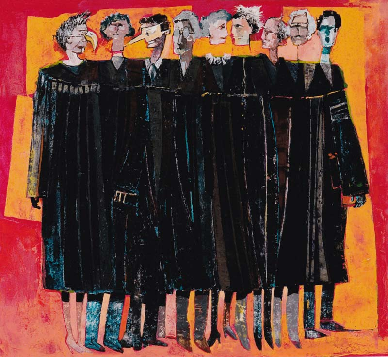 painting of nine people in black judge robes