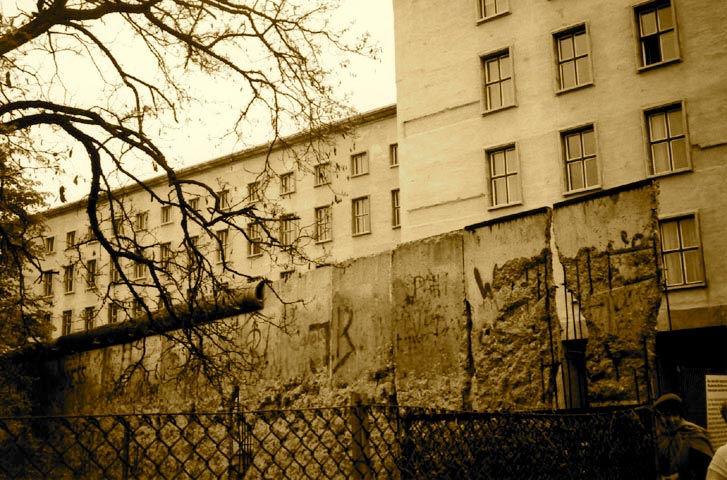 Sepia colored photo of remnants of Berlin Wall