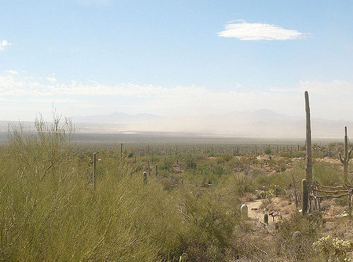 Photo of Arizona desert with dust storm in the distance