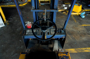 Forklift from P.O.V. of driver's seat