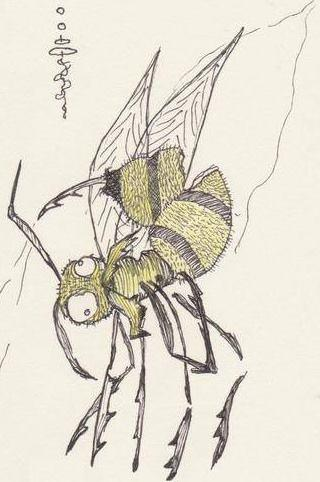 color pen drawing of bee creature
