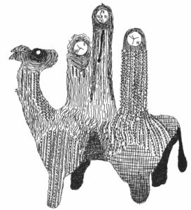 Pen drawing of camel with clocks in the humps