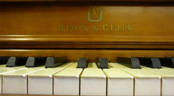 Close up of Story and Clark piano