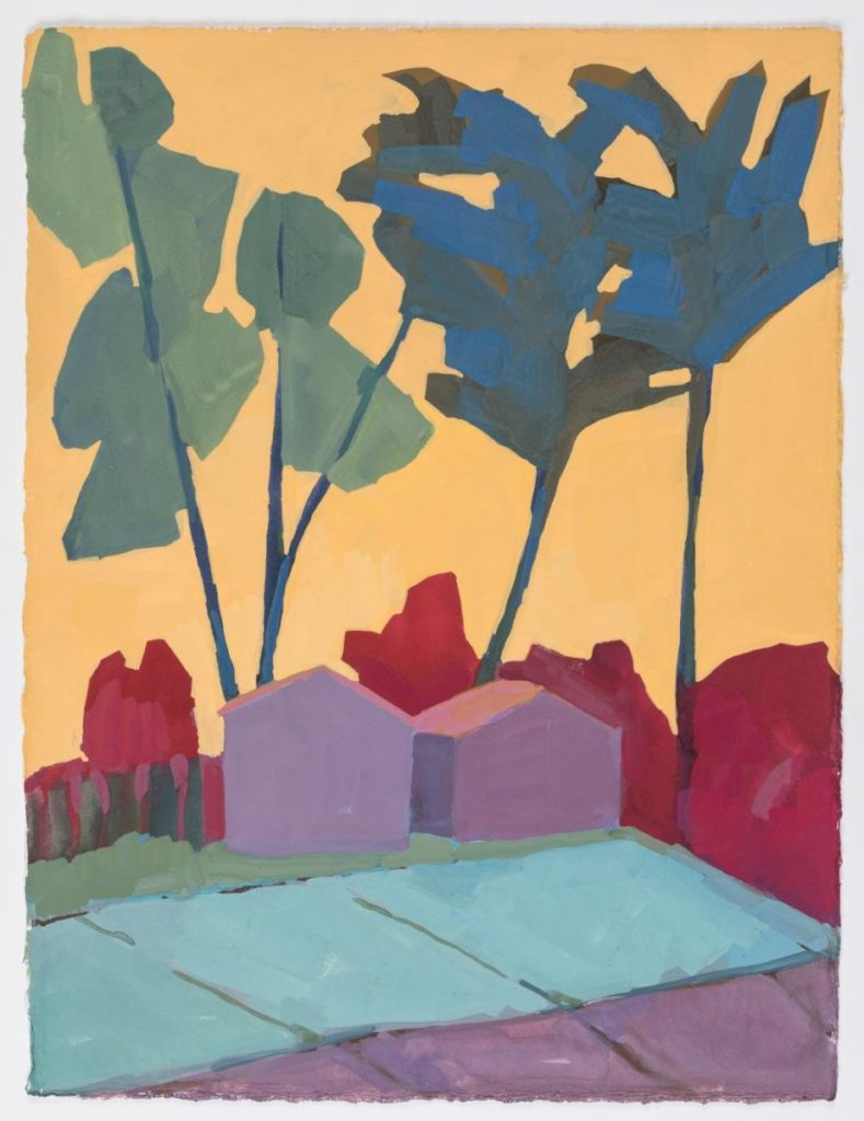 Painting of small houses and large trees