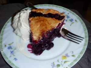 Color photo of slice of blueberry pie with ice cream on side