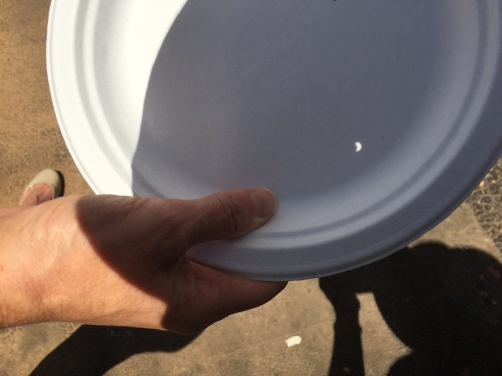 Paper plate with a tiny spot of light on it