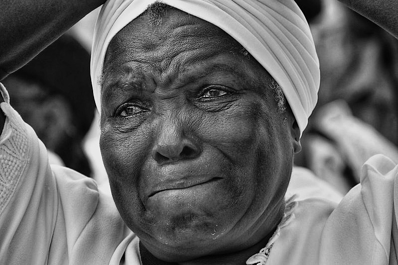 Black and white photo of older Haitian woman