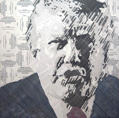 Painting/collage of Donald Trump