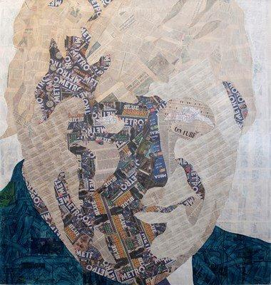 Painting/collage of Boris Johnson