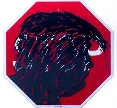 Inked silhouette of Trump on Stop sign