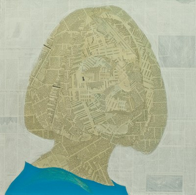 Painting/collage of Jill Abramson