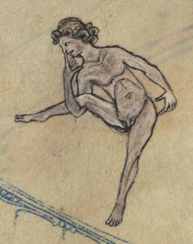rough sketch of woman in grotesque posture