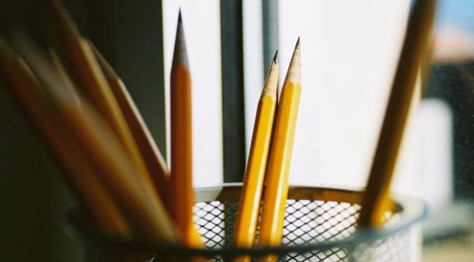 Sharpened pencils pointing up