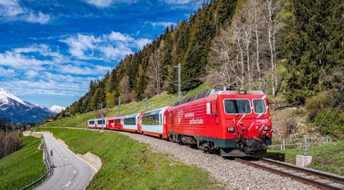 Train running on mountain