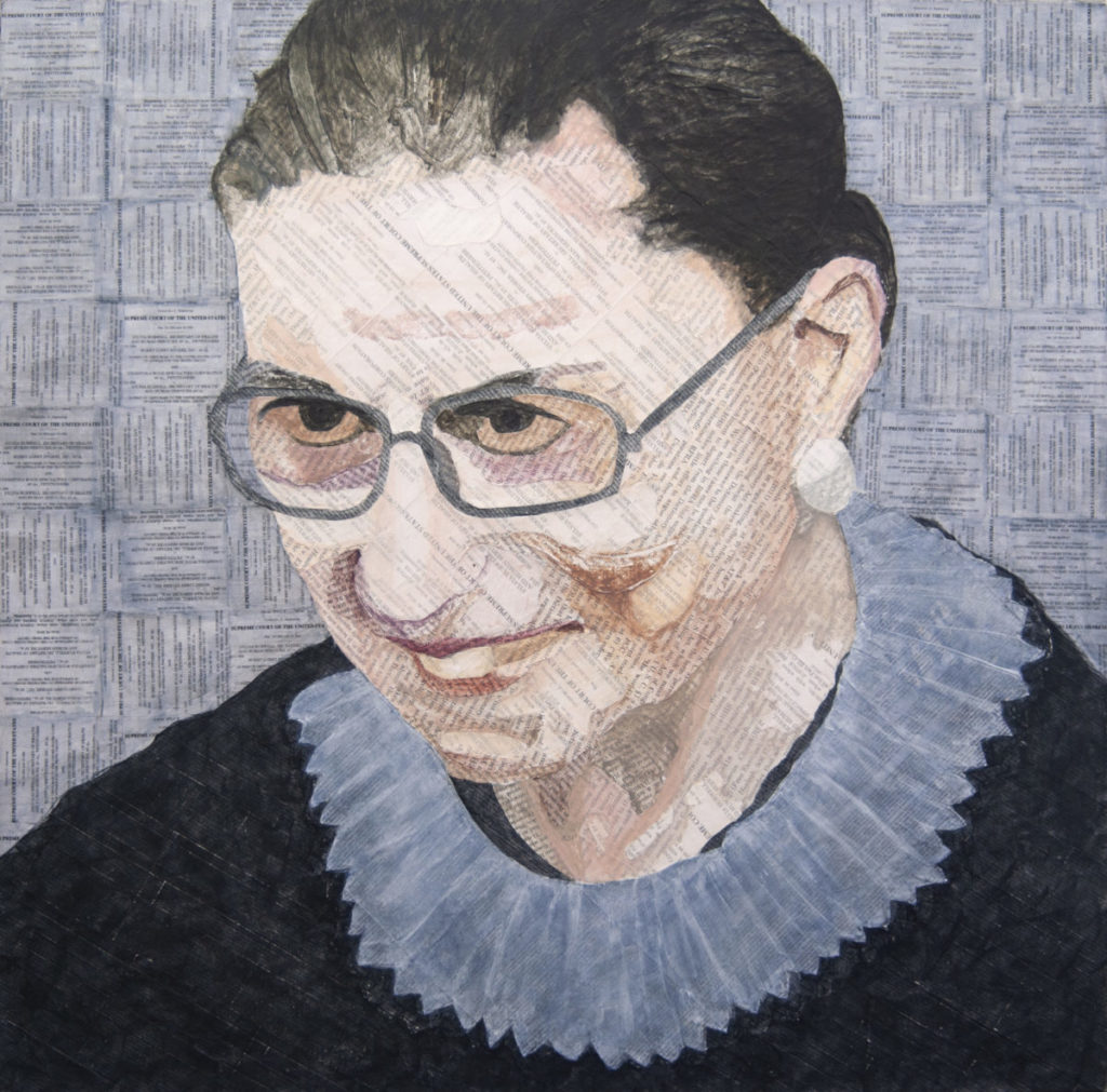 Painting/collage of RBG