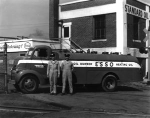 Old Standard Oil service station with two men standing out front