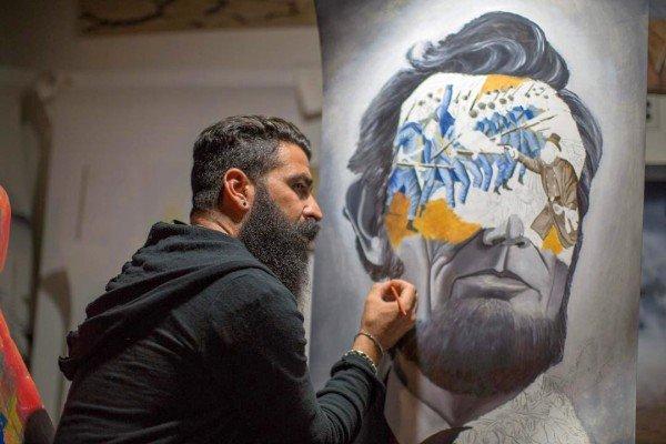 Artist Tomer Peretz painting Abraham Licoln