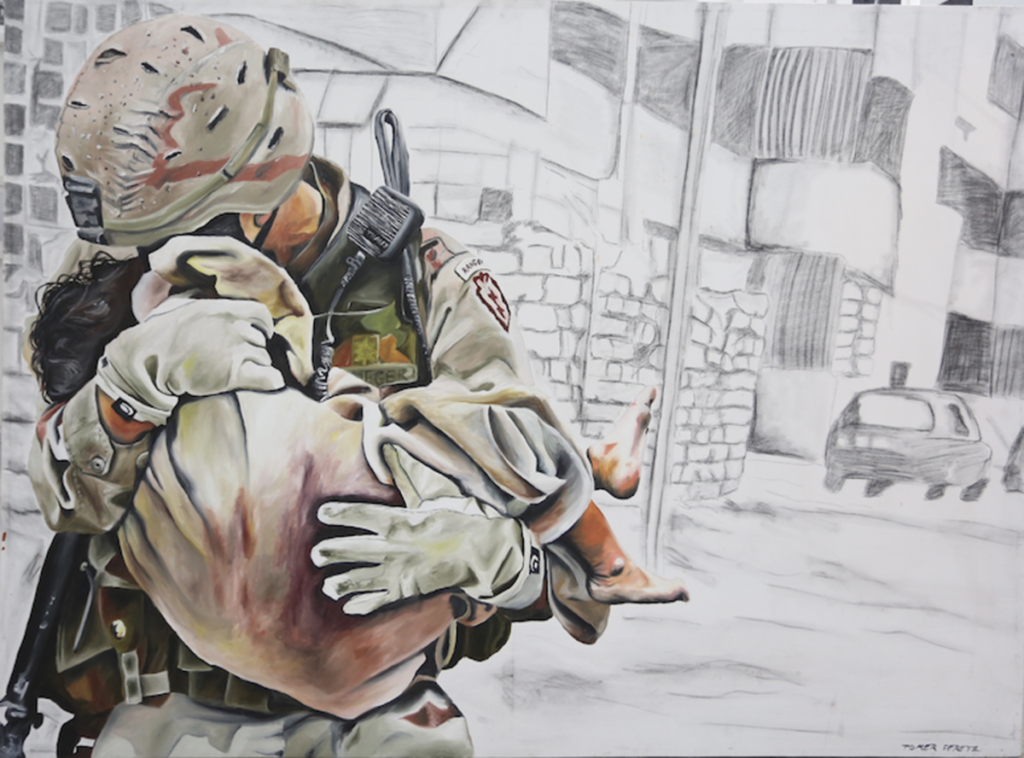 Painting of soldier carrying child