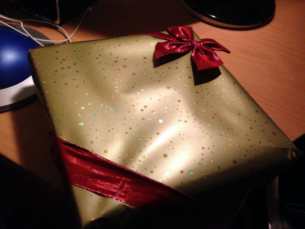 Wrapped gift with ribbon and bow