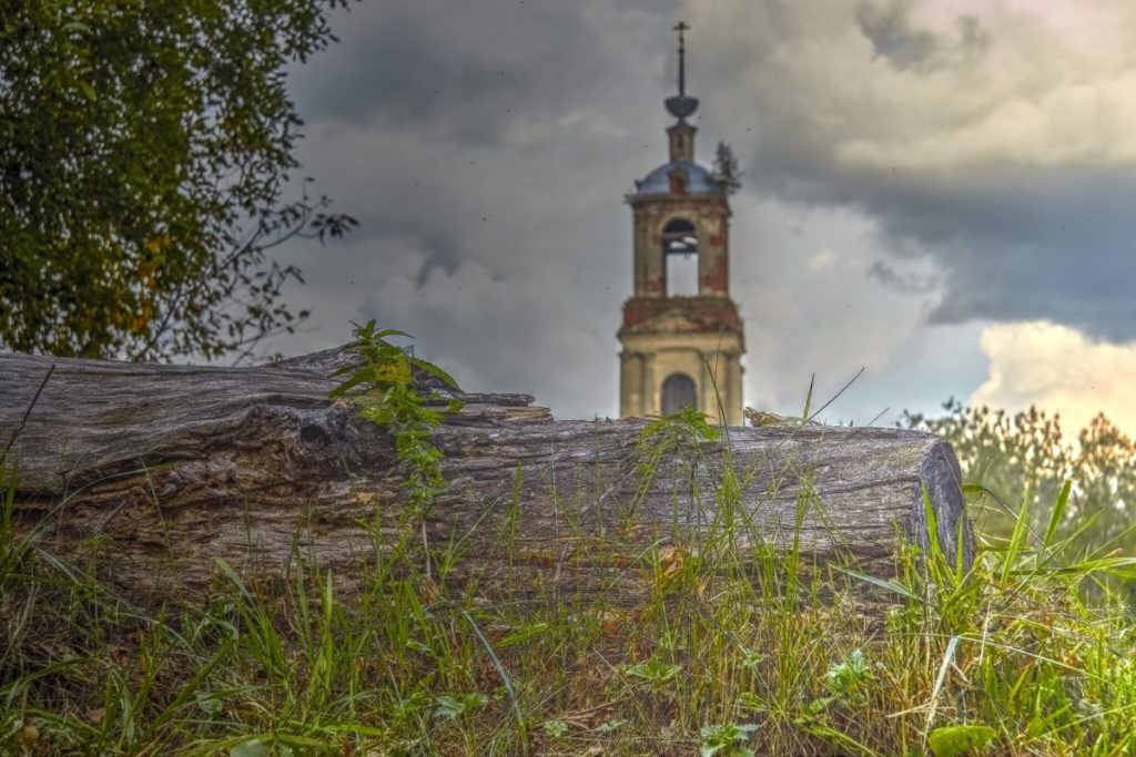 old abandoned church steeple with bells