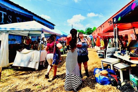 Photo of women at outdoor flea market