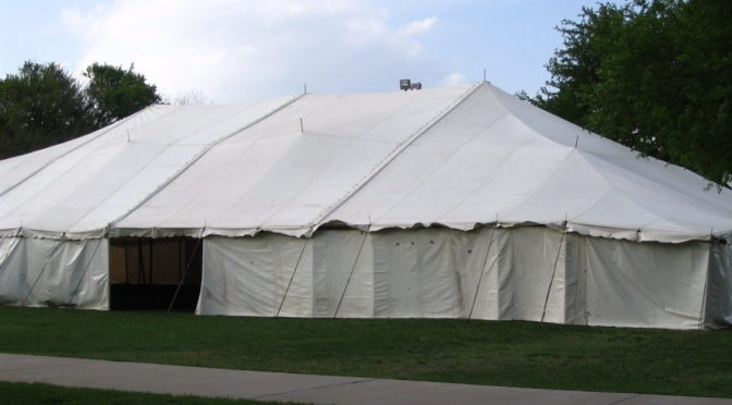 Photo of large white tent