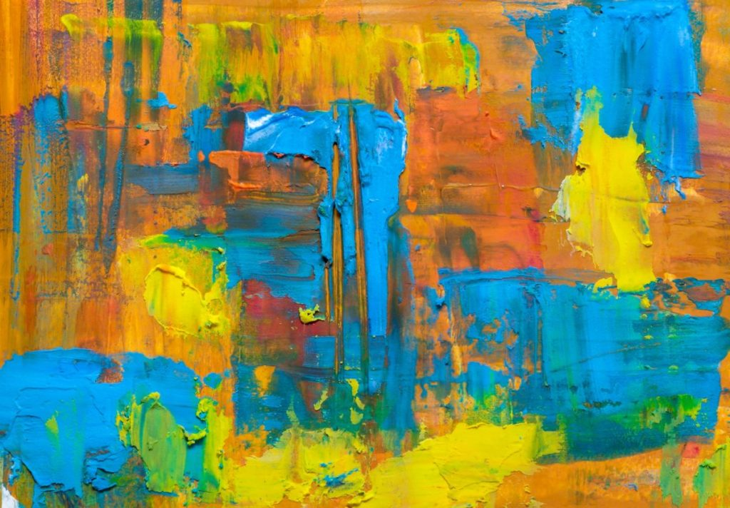 Abstract painting in bright colors