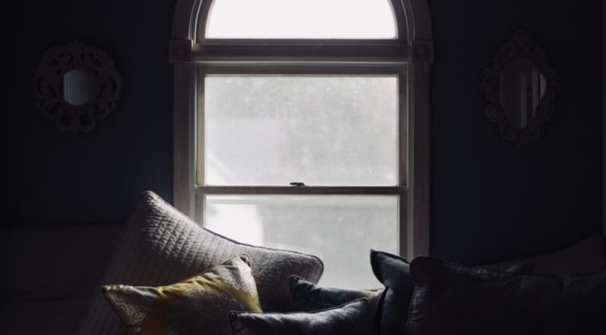 View of window above couch