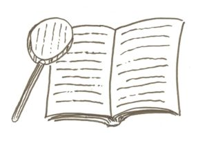 Drawing of magnifying glass over book
