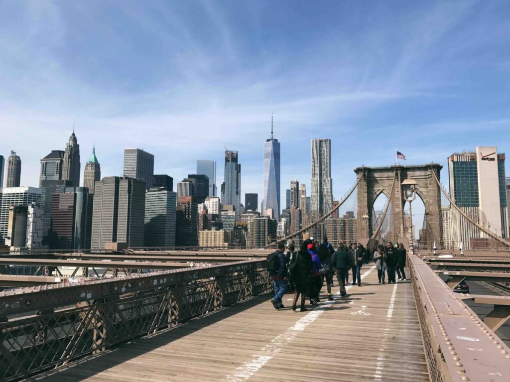 Photo of people on the Brooklyn Bridge