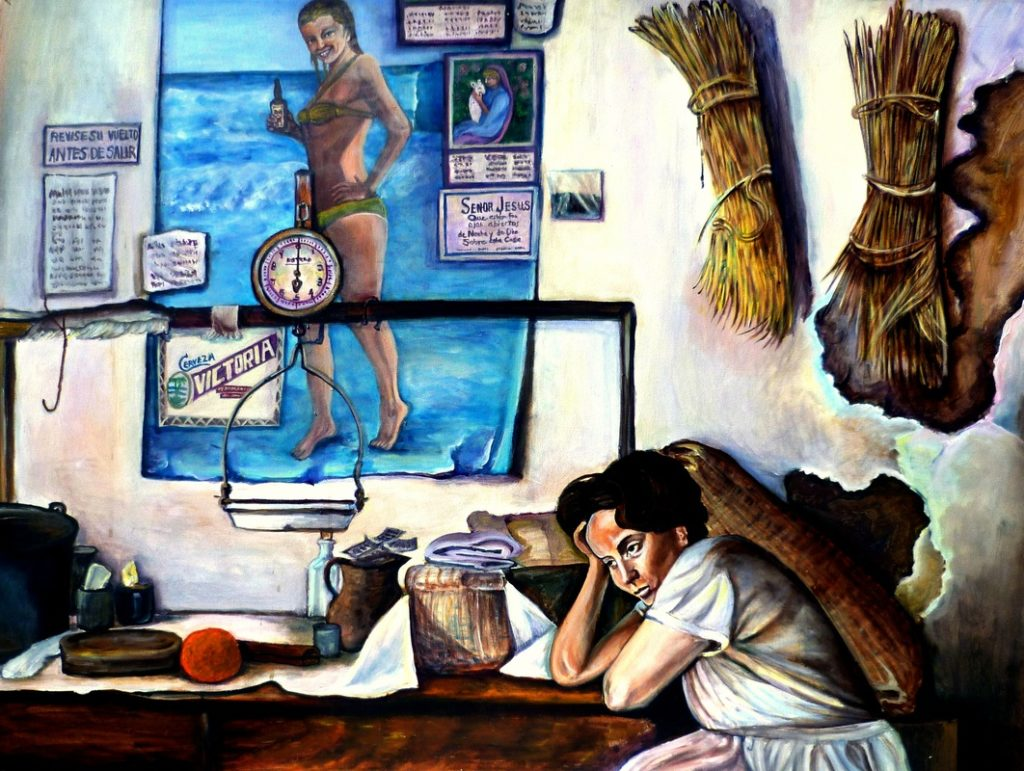 Painting of woman in room