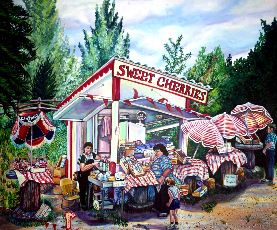 Painting of cherry stand