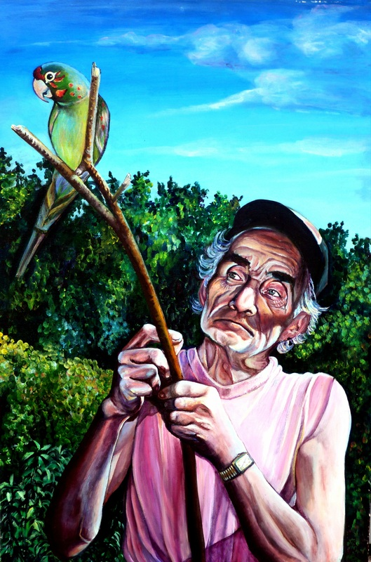 Painting of man with parrot