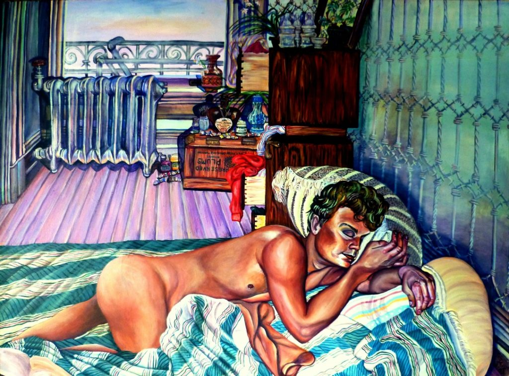 Painting of man, sleeping nude, in bed