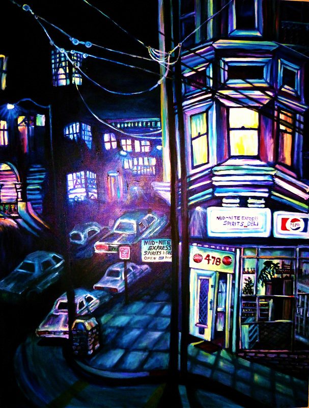 Painting of street corner