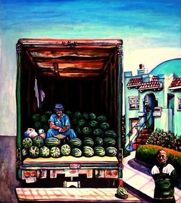 Painting of man on truck full of watermelons