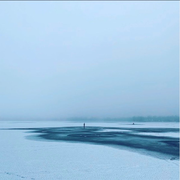 Photo of lake with snow