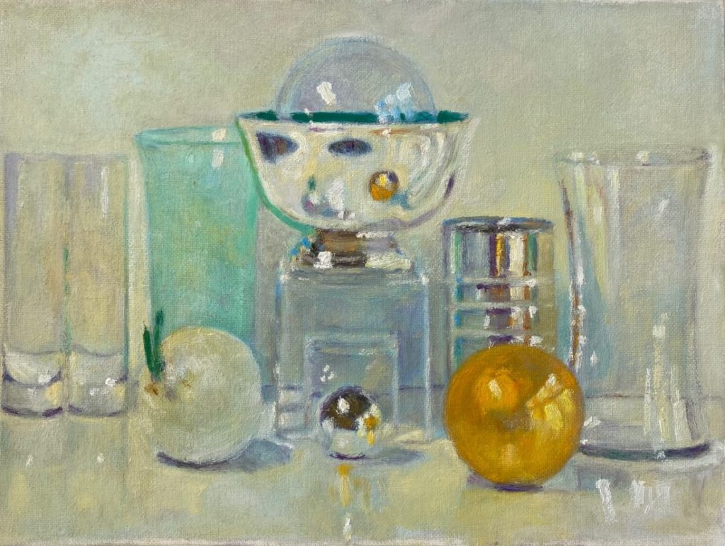 Painting of silver bowl, vases, an onion
