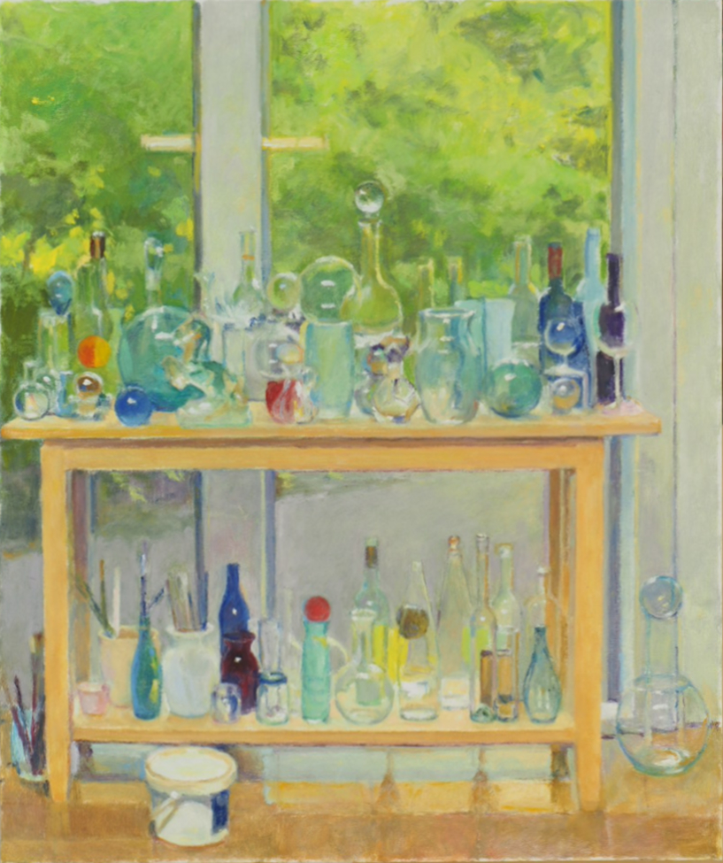 Painting of many glass bottles on table