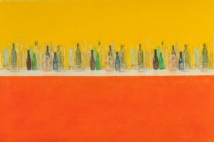 Painting of many glass bottles