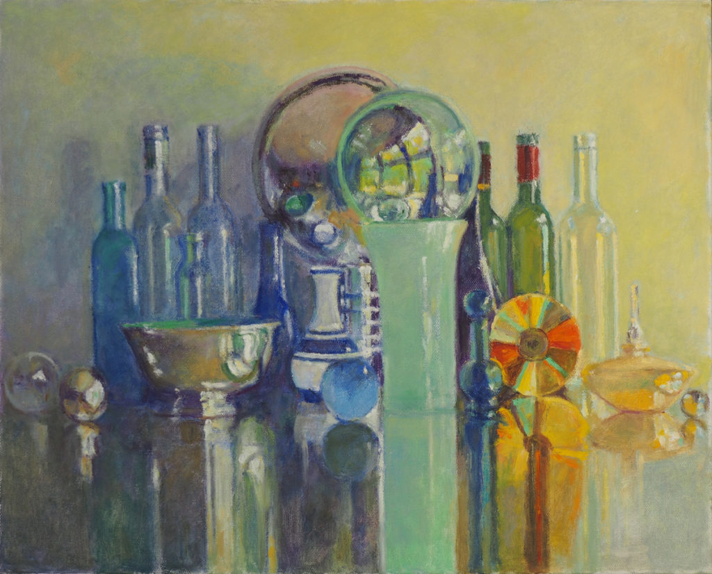 Painting of bottles, cd, mirror and bowl