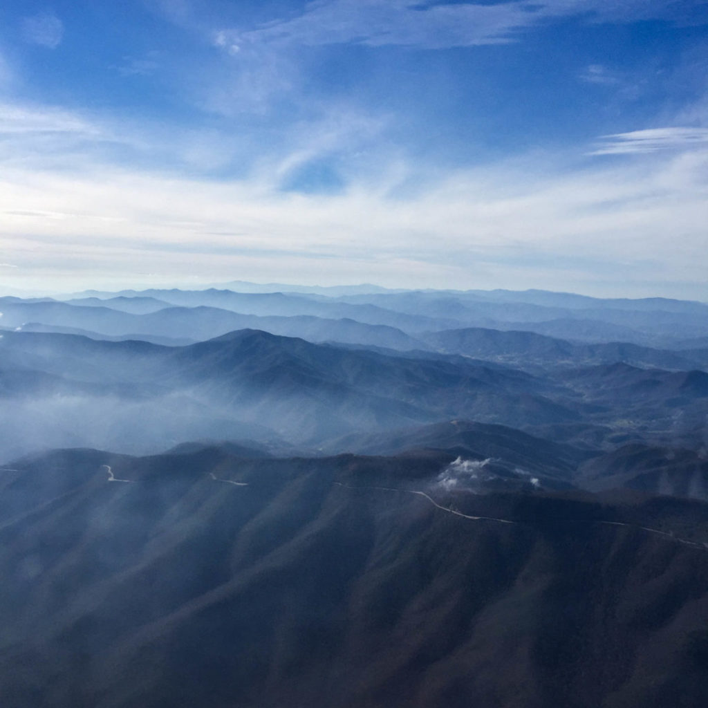 Photo of mountains from plane