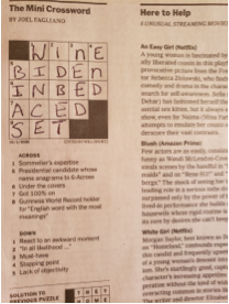 Filled in crossword puzzle