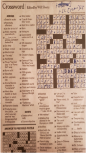 Photo of filled in crossword puzzle