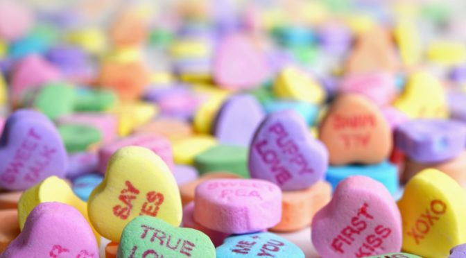 Photo of tons of candy hearts