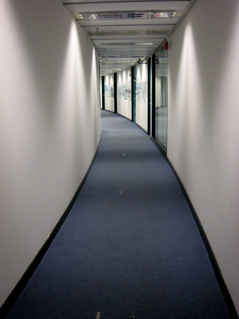 narrow hall with blue carpet