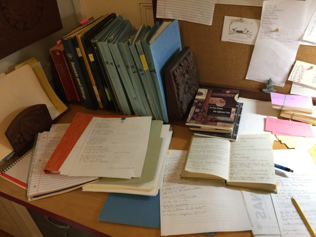 Photo of cluttered desk