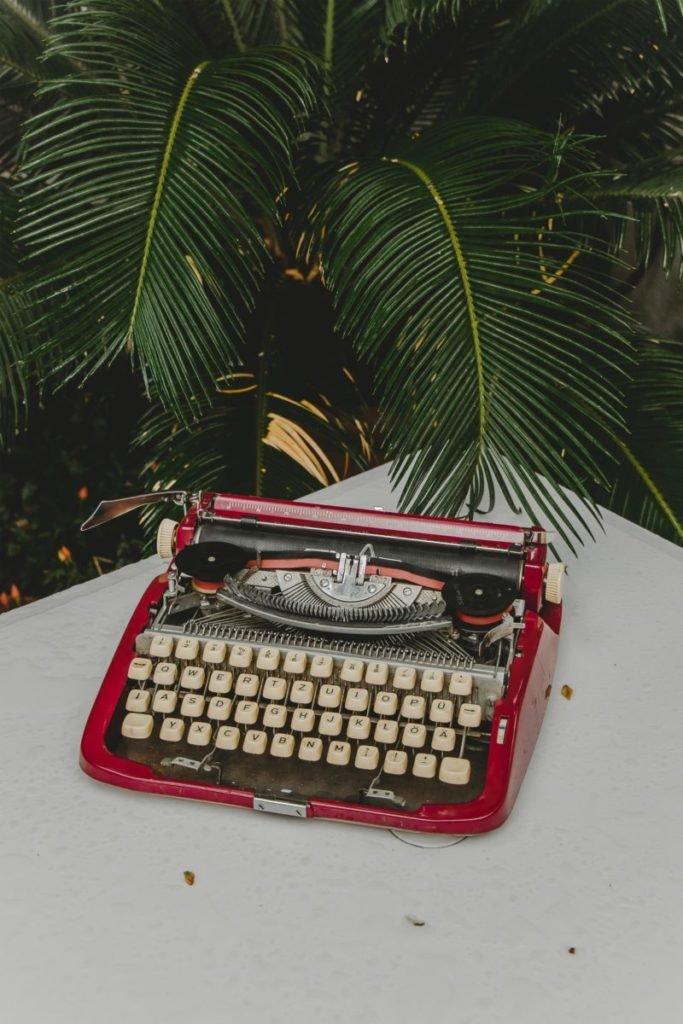 Photo of old red typewriter